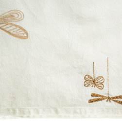 Vintage Maya - Dragonfly White Table Runner - Catch the buzz. Delicately embroidered dragonflies against a creamy background make for a buzzworthy table runner. Drape it along your cherry dining table for a warming effect.