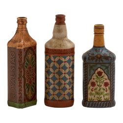 Uniquely Conceived Glass Painted Bottle, Set of 3 - Description: