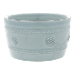 "Juliska - Juliska Berry and Thread Ramekin Blue - Juliska Berry and Thread Ramekin BlueSlightly oversized ice blue ramekin is the most versatile item in your kitchen! Use for herbed butters, petit souffles, or for an assortment of nibbles. Dimensions: 2.5"" H x 4"" W Capacity: 8 oz"