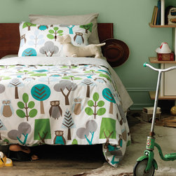 Kid's Bedding - Our Owls Sky Duvet Bedding Set features the playful Owls Sky print. This once popular motif is back in style and this updated version is adorned with classic woodland features and bold hues of green and blue.