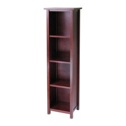 Winsome Milan 5-Tier Wood Bookcase - Tall and lean the Cara 4-Shelf Bookcase is the perfect size for those small spaces. Use this handy bookcase to display your favorite treasures or store your books. The simple and elegant design is a perfect addition to any home. Constructed of beech wood and finished in an antique walnut stain this bookcase features four shelves for books curios and more and the top is perfect for displaying photographs. It is perfect for the home or office. Dimensions: 16.4W x 13D x 56H inches.About Winsome TradingWinsome Trading has been a manufacturer and distributor of quality products for the home for more than 30 years. Specializing in furniture crafted of solid wood Winsome also crafts unique furniture using wrought iron aluminum steel marble and glass. Winsome's home office is located in Woodinville Wash. The company has its own product design and development team offering continuous innovation.