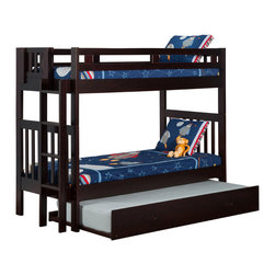 Atlantic Furniture - Cascade Bunk Bed Twin Over Twin / Trundle / Espresso - This Cascade bunk bed features classic mission styling. Constructed of solid wood using mortise and tenon joinery. The side mounted ladder can be attached at either end of the bunk and allows for easy access to underbed drawers or trundle bed.