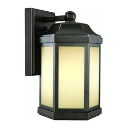 DHI-Corp - Bennett Outdoor Fluorescent Downlight, Oil Rubbed Bronze - The Design House 514992 Bennett Outdoor Fluorescent Downlight features a stately bronze finish, amber glass and a photocell. The finish adds a rustic charm to any patio or porch and illuminates the night with steady glare-free lighting. This light is perfect for patios and porches and provides beautiful warm light. The product weighs 5.12-pounds and comes with an 18-Watt GU 24 bulb and photocell. The bulb is an energy saving fluorescent bulb that meets strict efficiency guidelines set by the US Environmental Protection Agency and the US Department of Energy. This product is UL listed to ensure the highest quality possible and can be used in damp locations. Use this light to deter burglars and thieves and maintain a well-lit porch. The Design House 514992 Bennett Outdoor Fluorescent Downlight comes with a 10-year limited warranty to the original purchaser to be free from defect in materials and workmanship. Design House offers products in multiple home decor categories including lighting, ceiling fans, hardware and plumbing products. With years of hands-on experience, Design House understands every aspect of the home decor industry, and devotes itself to providing quality products across the home decor spectrum. Providing value to their customers, Design House uses industry leading merchandising solutions and innovative programs. Design House is committed to providing high quality products for your home improvement projects.