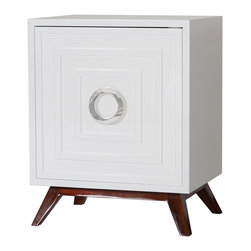 Kathy Kuo Home - Harrison Hollywood Regency White Lacquer Nickel Nightstand - Prepare for a new favorite piece in your bedroom. This eclectic square nightstand is finished in sleek, white lacquer. The contrasting dark wood base adds a rich, natural element to this modern nightstand. A beautiful nickel ring finishes the front of this trendy night table.