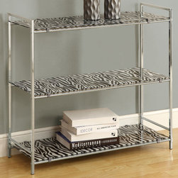 Monarch - Chrome Metal 30in.H Etagere with Zebra Tempered Glass - Go wild with this zebra print etagre! Its tempered glass and chrome metal legs provide sturdy support. Its shelves are perfect for displaying pictures, placing books or any decorative pieces. Put this 30 in. high unit in the hallway, the bedroom, living room or even your bathroom! A sure piece that will spice up any room!