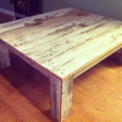"""Custom Furniture - Coffee table made from reclaimed house siding. 120 yr old weather board with authentic patina and paint. 54""""x48""""x19""""h"""