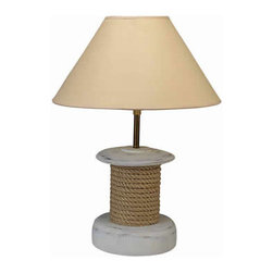 "Fisherman's Rope Lamp - The fisherman's rope lamp measures 8"" x 20"". It features fisherman's rope wrapped around the body of the lamp. The fisherman's rope sits on a sturdy base. The lamp can take up to a 100 watt bulb but we recommend a 60 watt bulb just to be safe. It will add a definite nautical touch to wherever it is placed and is a must have for those who appreciate high quality nautical decor. It makes a great gift, impressive decoration and will be admired by all those who love the sea."