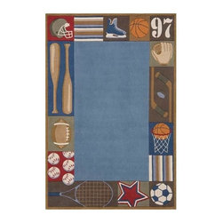 Momeni - Denim Sports Themed Hand-Tufted Acrylic Rug - Lil Mo Whimsy LMJ-4 (8.0 ft. x 10. - Choose Size: 8.0 ft. x 10.0 ft. Rectangle. Hand-tufted. Mod-acrylic. Care InstructionForest critters, retro robots and mod flowers, oh my! Quirky motifs combine to put 'Lil Mo Whimsy in a class by itself. Hand-tufted of soft mod-acrylic, this collection features hand-carving for added texture and a vibrant color palette to make it as fun as it is unique.