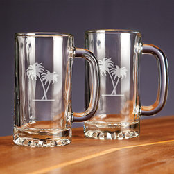 Frontgate - Nautical Design Tankard Mug - Handblown with lead-free crystal. Heavyweight bottoms add heft and durability. Makes an ideal gift for any occasion. Top-rack dishwasher safe. Bring the spirit of the seas to sparkling, handcrafted crystal with our Nautical Design Glassware. Each set of four glasses includes deep etching of each of the following designs: a seahorse, compass rose, anchor, and palm tree. Choose from three traditional bar glass sets, each of which bespeaks sophistication.  .  .  .  . Made in the USA.