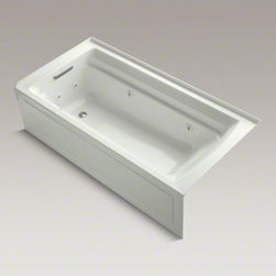 """KOHLER - KOHLER Archer(R) 72"""" x 36"""" alcove whirlpool with integral apron and left-hand dr - Taking its design cues from traditional Craftsman furniture, the Archer line of baths reveals beveled edges and curved bases for a clean, sophisticated style. This bath offers a low step-over height while allowing for deep, comfortable soaking. Whirlpool jets relax away the day's tension."""