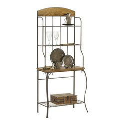 Hillsdale Furniture - Hillsdale Lakeview Wood Bakers Rack - The blending of warm medium oak wood tones with coppery brown tubular heavy gauge steel framing makes this bakers rack the centerpiece of our Lakeview collection. Functional, yet classic in design, this piece will create a lasting impression with any dining room's furnishings. Four roomy shelves give you ample space, the largest shelf made of wood that complements the uppermost wooden accents. The veneers and composites are climate controlled, adding to the grace and dignity of this inspired piece of furniture.