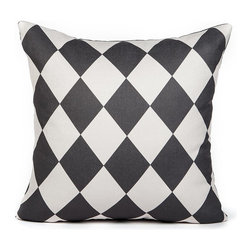 LaCozi - Cream and Charcoal Checkered Throw Pillow - Add a touch of sophistication to your surroundings with this diamond-patterned pillow. Dress up a light-colored couch or position one among a number of other bright colored pillows to provide an interesting contrast.