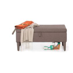 NYFU - OttoStorage Cappuccino - Our storage ottoman bench looks like a chic footrest and acts like a spacious trunk. This eco-friendly faux leather footrest map provide extra seating for two with its well built structure