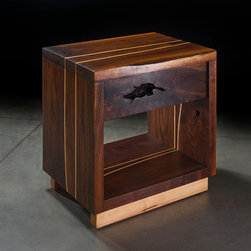 ViVo Design Studios - Solid Walnut Nightstand - ViVo�۪s exclusive Embedded Lines nightstand is hand-crafted from solid Eastern black walnut, with accents of Eastern hard maple.