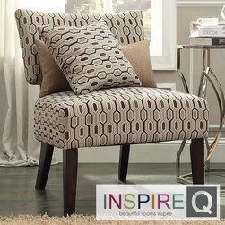 Inspire Q - Inspire Q Kayla Chain-link Style Fabric/ Espresso Finish Accent Chair - This Kayla Accent Chair is classic in shape with a nod to modern design. This chair features a slightly wraparound back, a deep padded seat and curved back legs for stability.