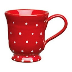 "Vietri Italian Dinnerware Rosso Vecchio Dot Red Footed Mug Cup - Vietri Italian Dinnerware Rosso Vecchio Dot Red Footed Mug Cup. This adorable mug will add a splash of color to any kitchen. It is red with white dots and is 4.5"" H and holds 12oz."