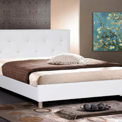 """Wholesale Interiors - Baxton Studio Barbara Platform Bed - The sparkling gleam of the multi-faceted faux crystal buttons that regally stud the tufted headboard of our Barbara Modern Platform Bed thoroughly befits a stylish, trendy bedroom. Silver metal legs finish off this spectacular piece of modern bedroom furniture. Features: -Polyurethane foam padding.-Clean, wipe with a damp cloth.-Engineered wood frame.-Baxton Studio collection.-Powder Coated Finish: No.-Gloss Finish: No.-Frame Material: Wood.-Upholstered: Yes -Upholstered Section: Headboard, footboard, side rails.-Upholstery Material: Faux leather.-Tufted: Yes..-Number of Items Included: 1.-Mattress Included: No.-Box Spring Required: No.-Headboard Storage: No.-Footboard Storage: No.-Underbed Storage: No.-Slats Required: Yes -Number of Slats Required: 1.-Slats Included: Yes..-Adjustable Footboard Height: No.-Wingback: No.-Attached Nightstand: No.-Cable Management: No.-Built in Outlets: No.-Lighted Headboard: No.-Distressed: No.-Collection: Baxton Studio.-Recycled Content: No.-Canopy Frame: No.-Hidden Storage: No.-Swatch Available: No.-Commercial Use: No.-Product Care: Spot clean.Specifications: -FSC Certified: No.-EPP Compliant: No.-CPSIA or CPSC Compliant: No.-CARB Compliant: No.-JPMA Certified: No.-ASTM Certified: No.-ISTA 3A Certified: No.-PEFC Certified: No.-Green Guard Certified: No.Dimensions: -Overall Height - Top to Bottom (Size: King): 35.8"""".-Overall Height - Top to Bottom (Size: Queen): 35"""".-Overall Width - Side to Side (Size: King): 80"""".-Overall Width - Side to Side (Size: Queen): 63"""".-Overall Depth - Front to Back (Size: King): 86"""".-Overall Depth - Front to Back (Size: Queen): 86"""".-Overall Product Weight (Size: King): 86 lbs.-Overall Product Weight (Size: Queen): 75 lbs.-Headboard Dimensions Height (Size: King): 35.8"""".-Headboard Dimensions Height (Size: Queen): 35"""".-Headboard Width Side to Side (Size: King): 80"""".-Headboard Width Side to Side (Size: Queen): 63"""".-Headboard Depth Front to Back (Size: """