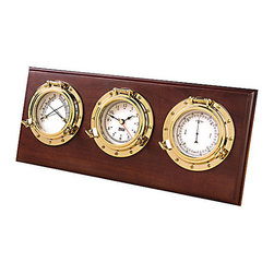 """Weems & Plath Porthole Weather Center - This three instrument plaque includes a quartz clock, barometer and comfortmeter (thermometer/hygrometer) inset in solid hard wood with mahogany finish that can be wall mounted or stand free on a desk or shelf. The highly polished brass finished instruments will never tarnish or discolor. A battery, an engraveable brass plate, mounting hardware and a lifetime warranty are provided. The dial measures 2-1/2""""  the base measures 14-1/2"""" W x 6"""" H. The dimensions of the brass plate are: 2.5""""L x 3/4""""H."""