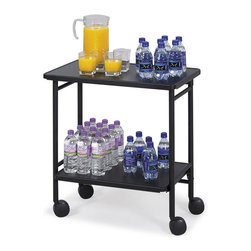 "Safco - Folding Office Cart in Black Finish - Oversized heavy duty dual-wheel casters make it a cinch to transport this mobile office cart in smart black finish.  It features clever folding design for easy storage out of the way when necessary, and is great for delivering food, office supplies, and more. Two shelves. Four 3 in. diameter dual wheel casters with two locking for easy mobility. Weight Capacity: 30 lbs. per shelf. Made from steel. Powder coat finish. 26 in. W x 15 in. D x 30 in. H (24 lbs.). Assembly InstructionMake every meeting a refreshing one. Pamper your guests with the Folding Office Cart in your conference room, meeting area, training center, executive offices or treat your employees in the break room, lunch area or lounge areas. Now that's ""ahhhh"" inspired."
