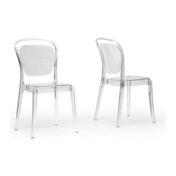 "Wholesale Interiors - Ingram Clear Plastic Stackable Modern Dining Chairs, Set of 2 - Ingram is Italian Cafe furniture, revisited. This contemporary take on a classic cafe chair is made in China with a single-molded transparent clear polycarbonate plastic frame and non-marking feet. Lightweight and easily repositionable, this designer dining chair is also conveniently stackable. The Ingram Chair is fully assembled and should be wiped clean with a damp cloth. 17.87""x 20.87""D x 34.37""H, seat dimension: 14.5""W x 15.62""D x 18""HH."