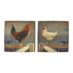 Zeckos - Set of 2 Rooster and Hen Printed Canvas Wall Hangings - This pair of canvases is a wonderful addition to your country kitchen. One of them features a rooster, with the phrase, 'The Rooster Crows,' and the other features a hen, with the phrase, 'But the Hen Delivers the Goods.' They each measure 12 inches tall, 12 inches wide, 3/4 of an inch thick, and easily mount to any wall by the picture hanger on the back. This set looks wonderful in homes, diners, and restaurants, and makes a great housewarming gift.
