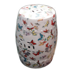 Golden Lotus - White Porcelain Butterflies Round Stool Ottoman - This is a hand painted colorful porcelain stool in a white base color with mixed color butterflies graphic.