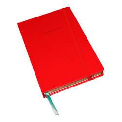Kate Spade - Kate Spade Red Large Notebook - A vibrant red leatherette journal embossed in gold foil with paint the town red, 168 Lined pages with gilded edges, ribbon bookmark, and interior pocket