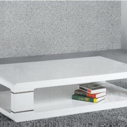Armen Living - Modern Coffee Table in White Lacquer - This exclusively designed coffee table features chic angular lines, geometric beauty, and rich materials such as high-gloss lacquer that have been artistically rendered into modern metropolitan form.