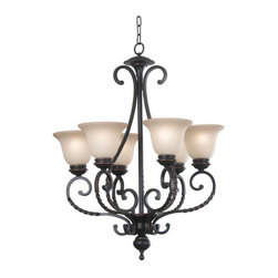 Kenroy Home - Kenroy Home 10196ORB Six Light Up Lighting Chandelier Oliver Collection - Oliver displays scrolls and curves reminiscent of antique ironwork. Twists in Oliver's forged metal arms evoke a sense of old world charm. Amber Scavo glass adds the perfect complement to Oliver's Oil Rubbed Bronze finish.