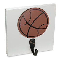 Homeworks Etc - Homeworks Etc Basketball Single Wall Hook - Decorative basketball sports themed wall hook for the nursery and kids room.  Great for hanging towels, clothes, and more.