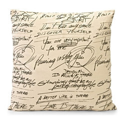 IMAX CORPORATION - Newton Large Square Pillow - Square cotton oversized graphic pillow with scripted science annotations printed on cream background fabric. Find home furnishings, decor, and accessories from Posh Urban Furnishings. Beautiful, stylish furniture and decor that will brighten your home instantly. Shop modern, traditional, vintage, and world designs.