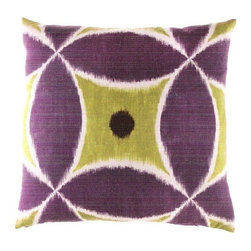"""Canaan - Istanbul Aubergine Circle and Diamond-Pattern Throw Pillow - Istanbul aubergine circle and diamond pattern throw pillow with a feather/down insert and zippered removable cover. These pillows feature a zippered removable 24"""" x 24"""" cover with a feather/down insert. Measures 24"""" x 24"""". These are custom made in the U.S.A and take 4-6 weeks lead time for production."""
