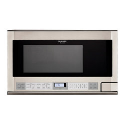 Sharp - 1.5 CF, 1100 Watt, OTC Microwave - 1100-watt over the counter microwave oven with 1.5 cu. ft. capacity|14.1 inch removable, revolving turntable|7-digit, 2 color, lighted LCD display|19 automatic settings|Smart and Easy Sensor Settings|Auto-Touch Control Panel|Interactive Cooking System with Custom Help in English, Spanish or French|Defrost Center sets times and power levels for meats and poultry by weight|Minute Plus gives one minute of high cooking at a touch|Keep Warm Plus lets you keep hot foods hot up to 30 minutes after cooking is finished|  sharp| r1214t| r 1214t| over the counter microwave| microwave| over the counter| 1100w| 1100 watt| 1.5 cu. ft.| lcd display  Package Contents: stainless steel microwave|turntable|hardware|manual|warranty  This item cannot be shipped to APO/FPO addresses  Sharp will no longer take back any Sharp product as a DOA.