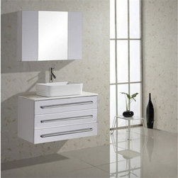 "Virtu USA - Virtu USA Ivy 32"" Single Sink Bathroom Vanity - White - The Ivy vanity features a modern design with clean, sleek lines. This wall-mounted vanity features a body constructed of a solid, eco-friendly rubber wood coated in a rich white finish and completed with a beautiful set of Brushed Nickel hardware. Featuring an ample amount of storage, this magnificent set also comes fully equipped with state of the art soft closing drawers to increase the life longevity by reducing stress on the cabinet. Take notice in the ultra-high gloss artificial white stone countertop meaning that an easy clean will always be within reach. Virtu USA has taken the initiative by changing the vanity industry and adding soft closing doors and drawers to their entire product line. By doing so, it will give their customers benefits ranging from safety, health, and the vanity's reliability.FeaturesMain Cabinet: 32.6"" W x 20.3"" D x 19.6"" HSink: 19.1x14.6x5.2Medicine Cabinet with Mirror: 31.5"" W x 23.6"" HSolid RubberwoodArtificial White Stone CountertopWhite Finish Water Resistant Low V.O.C SealerEco-Friendly Solid Rubber Wood ConstructionAdjustable slides3 Doweled Drawers with Soft Closing SlidesMedicine cabinet with 3 doors and soft closing hingesBrushed Nickel HardwarePS-104 Faucet with Pop Up and Drain Assembly IncludedCUPC, UPC and IAPMO Certified Faucet with Limited Lifetime WarrantyLead-Free Faucet compliant with AB1953 and S152 Eco-Friendly WaterSense certified 1.5 GPM flow rateDesigner Vessel Mount BasinsMinimal Assembly RequiredAssembly RequiredVirtu 2 Year WarrantyVirtu USA reserves the right to repair, replace or refund any products resulting from a manufacturer's defect.How to handle your counter View Spec Sheet"