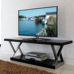 Walker Edison Double-X 60 in. TV Stand - Brushed Silver/Black - The Walker Edison Double-X 60 in. TV Stand - Brushed Silver/Black features hand-brushed, silver steel legs that offer depth and intrigue without compromising sound construction. This TV stand has open shelving below that provides plenty of storage space for hefty A/V components and media accessories. The black steel frame supports those modern-art legs, and a thick, black tempered safety glass top. This TV stand has a vast size and is well-designed enough to support most flat panel TVs up to 60 inches wide and up to 250 pounds. This TV stand comes ready-to-assemble and includes the hardware and tools to make it easy for you.About Walker EdisonSpecializing in quality furniture at low prices, Walker Edison Furniture Company manufactures a wide variety of furniture pieces for the North American marketplace. From bedroom furniture and desks, to coffee tables, dining tables, and TV stands, Walker Edison provides practical decor solutions for today's functional homes. With factories strategically located all over the world, Walker Edison balances cost with low-priced raw materials and skilled artisans to deliver smart furniture pieces that fit every budget.