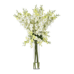 """Nearly Natural - Delphinium Silk Flower Arrangement - You will think of spring all year-round. A beautifully whimsical arrangement. A virtual explosion of floral color. Construction Material: Polyester material, Iron wire, Glass, Resin. 24 in. W x 24 in. D x 38 in. H ( 7 lbs. ). Pot Size: 4 in. W x 18 in.HSpring has definitely sprung. you'll be thinking that year-round when you gaze upon the whimsical beauty of this lovely Delphinium arrangement. Countless stems rise out of the beautiful vase, culminating in an explosion of floral color that looks even better in person than it does in this picture. The perfect """"brighten me up"""" adornment for any room, this silk flower arrangement also makes a perfect gift for that sunny person in your life."""
