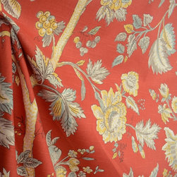 Island Living Crimson Red Jacobean Floral Drapery Fabric By The Yard - The pattern Island Living in the color way Crimson is a stunning jacobean floral fabric. This Kaufman fabric is cotton based and great for window treatments, bedding, pillows and light upholstery.
