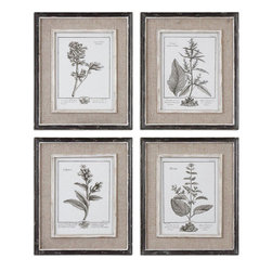 Uttermost - Casual Grey Study Framed Art Set of 4 - Prints Are Surrounded By Light Tan Burlap Mats. Frames Have A Heavily Distressed Black Finish With A Gray And Taupe Wash. The Inner Lips And Liners Have A Medium Wood Tone Base With Heavily Distressed Painted White Finish With A Gray & Taupe Glaze.