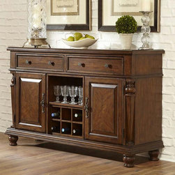 Hillsdale Furniture - Hillsdale Woodridge Dining Server - 4942-851 - Shop for Buffets and Side Boards from Hayneedle.com! With elements reminiscent of Victorian-style furniture the Hillsdale Woodridge Dining Server adds a gorgeous traditional touch to your dining room decor. This beautiful server is built from solid hardwood with veneers in a rich walnut finish. It boasts plenty of storage with two spacious drawers two cabinets and a nine-bottle wine rack in the center with glass storage just above. Brushed pewter hardware completes this server's luxurious design. About Hillsdale FurnitureLocated in Louisville Ky. Hillsdale Furniture is a leader in top-quality affordable bedroom furniture. Since 1994 Hillsdale has combined the talents of nationally recognized designers and globally accredited factories to bring you furniture styling and design from around the globe. Hillsdale combines the best in finishes materials and designs to bring both beauty and value with every piece. The combination of top-quality metal wood stone and leather has given Hillsdale the reputation for leading-edge styling and concepts.