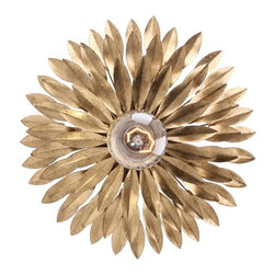 Joshua Marshal - Broche One Light Antique Gold Wall Light - One Light Antique Gold Wall Light