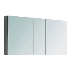 "Fresca - Bathroom Medicine Cabinet w Shelves (Small) - Choose Size: SmallRecessed Mounting Option. Product Material: Glass. Finish: Mirror. 4 Glass Shelves. 3 Mirrored Doors. 49 in. W x 26 in. H x 5 in. DThis 50"" medicine cabinet features mirrors everywhere. The edges have mirrors and also on the interior of the medicine cabinet. The inside features four tempered glass shelves. Can be wall mounted or recessed into the wall."