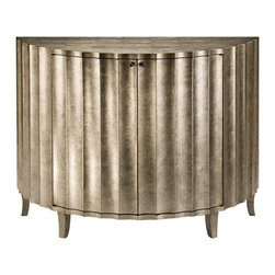 """Inviting Home - Fluted Cabinet - Half round fluted cabinet with antiqued crackled silverleaf finish two doors and one shelf inside; 47-1/2""""W x 20""""D x 36-1/4""""H Half-round fluted cabinet with antique crackled silver finish. This cabinet has two doors and one shelf inside."""