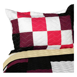 Blancho Bedding - Romantic Girl 3PC Vermicelli-Quilted Patchwork Quilt Set  Full/Queen Size - The [Romantic Girl] 100% TC Fabric 3PC Vermicelli-Quilted Patchwork Quilt Set (Full/Queen Size) includes a quilt and two quilted shams. This pretty quilt set is handmade and some quilting may be slightly curved. The pretty handmade quilt set make a stunning and warm gift for you and a loved one! For convenience, all bedding components are machine washable on cold in the gentle cycle and can be dried on low heat and will last for years. Intricate vermicelli quilting provides a rich surface texture. This vermicelli-quilted quilt set will refresh your bedroom decor instantly, create a cozy and inviting atmosphere and is sure to transform the look of your bedroom or guest room. (Dimensions: Full/Queen quilt: 90.5 inches x 90.5 inches; Standard sham: 24 inches x 33.8 inches)