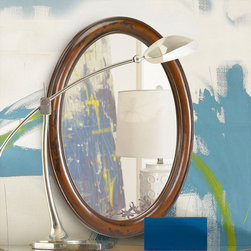 """Hammary - Hidden Treasures Black/Brown Mirror - Hammary's Hidden Treasures collection is a fine assortment of unique accent pieces inspired by some of the greatest designs the world over. Each selection is rich in Old World icons and traditions. Every piece in this collection is crafted with the upmost attention to fine details. Each item is a work of art from brass nailhead trim and exquisite hand-painting to elegant shaping and decorative trim. Wide varieties of materials are used to create a perfect look and fine quality which includes exotic woods, leather, and stone to raffia and glass. The wide variety of finishes, hardware, beautiful carvings and other final touches offer unmatched versatility for any room in your home. Hidden Treasures features cocktail tables, occasional and accent pieces, trunks, chests, consoles, wine racks, desks, entertainment units and interesting storage pieces. Place one in a comfortable reading nook. . . in the family room for flair and variety. . . in the foyer for a welcome look. . . in a bedroom for a cozy style. . . or in the office for function and versatility. The pieces in this collection mix beautifully with any decorating style and will easily become the focal point in any setting.; Hidden Treasures Collection; Finish:; Resin; Black Brown Distressed Finish; Goes With 090-350 Console Table; Weight: 22 lbs.; Dimensions: 25""""W x 2""""D x 33""""H"""