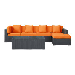 """LexMod - Signal 5 Piece Outdoor Patio Sectional Set in Espresso Orange - Signal 5 Piece Outdoor Patio Sectional Set in Espresso Orange - Engage adaptivity with the Signal Outdoor Set. Embed your environs with clues for attaining allostasis with an alert orange and white design that focuses your natural acumen. Command success in progressive steps with a piece that neutralizes outside distractions. Set Includes: One - El Outdoor Wicker Patio Chaise Lounge One - El Outdoor Wicker Patio Coffee Table One - El Outdoor Wicker Patio Right Arm Section Two - El Outdoor Wicker Patio Armless Sections For entertaining or everyday use, Powder coated aluminum frame , UV resistant synthetic rattan, Water resistant cushions and base , Easy zipper for cleaning , Easy Assembly Required Overall Product Dimensions: 120""""L x 53""""W x 25""""H Chaise Lounge Dimensions: 30""""L x 53""""W x 13""""H Coffee Table Dimensions: 49""""L x 21""""W x 17""""H Armless Section Dimensions: 30""""L x 30""""W x 25""""H Left Arm Section Dimensions: 30""""L x 30""""W x 25""""H Cushion Depth: 4""""H Seat Height: 13""""H - Mid Century Modern Furniture."""