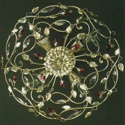 Artistica - Hand Made in Italy - Alba Lamp: Ceiling Light: Swarovski/W. Iron/H.Painted/Silver Leaf - Alba Lamp Collection: