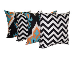 Land of Pillows - Premier Prints Zig Zag Black and Ikat Apache Orange Throw Pillows - 4 Pack, 16x1 - Fabric Designer - Premier Prints