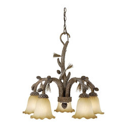 Vaxcel Lighting - Vaxcel Lighting AS-CHD005PT Aspen Traditional Chandelier - An genuine depiction of a natural theme: pine cones and branches with exquisitely crafted texture and realistic color tones.