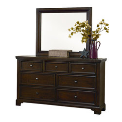 Vaughan Bassett - VaughanBassett Hanover Drawer Dresser with Mirror in Dark Cherry - The classic look of the Dresser and Landscape Mirror provides style and function for the bedroom. The dresser has a total of seven drawers in various sizes. The top has three small drawers with felt lining making it ideal to keep jewelry and accessories secure. The drawers on the bottom are larger and lined with cedar giving it the natural aroma of cedar and will help protect clothing and bed linens. This dresser has molding around the top and base, bracket feet and wood planking on the top and sides adding character. Adding a landscape mirror creates depth and makes a statement. The clean lines and beveling are a great addition to any bedroom. The finish is distressed keeping it casual and giving it an aged feel. The dresser is made in the USA with veneers and selected hardwood solids.