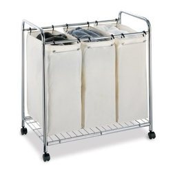 Organize It All - Laundry Sorter, 3-Section Heavy Duty Canvas - Avoid the trouble of having to sort through laundry before throwing it into the washer with our three section laundry sorter. Constructed of a chrome finished tubed metal frame, this laundry sorter has three individual heavy duty canvas bags that will do the sorting for you. Conveniently separate whites from colors, delicates from normals, darks from lights with ease. When bags become full, simply pick them up and head to the laundry room or laundromat.
